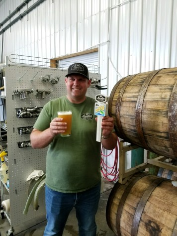 Blake Austin with a brew.