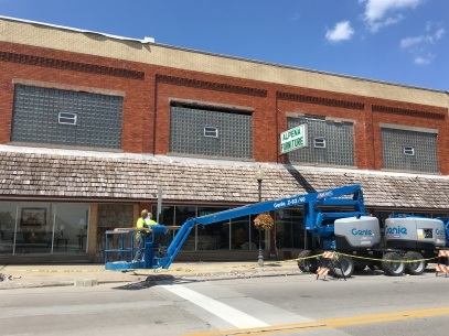 Facade work begins at Alpena Furniture.