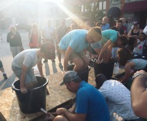 Grape stomping at Thunder Bay Winery's annual Harvest Festival.