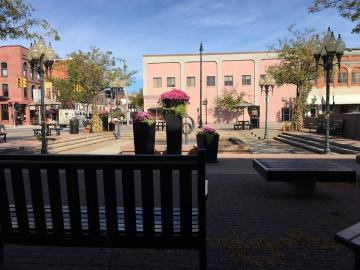 New flower planters at Culligan Plaza.