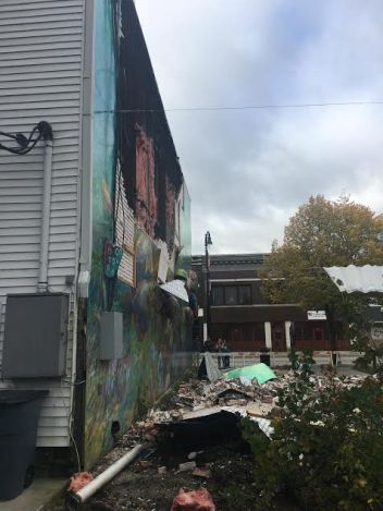 After the mural was damaged this fall.