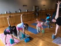 A kids yoga class.