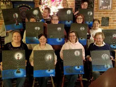 Group photo from a recent painting event. Photo by the Black Sheep Pub.