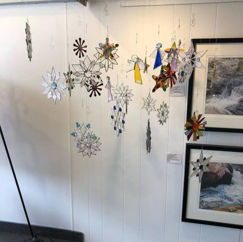 Glass snowflakes at Forty-Five North Art Gallery.