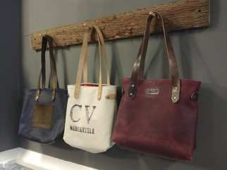 Leather bags on display at Chippewa Valley Mercantile.